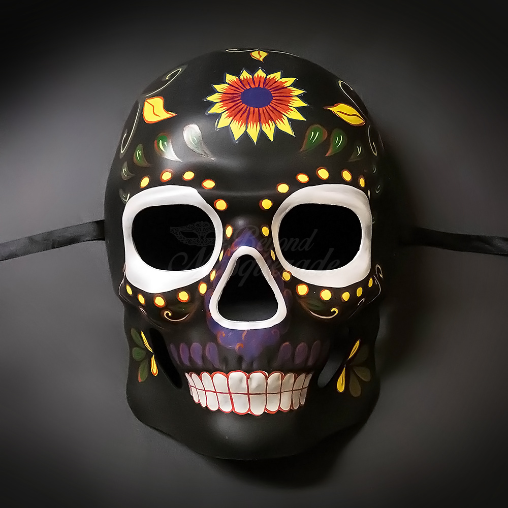 4c9847f393fb Day of the Dead Skull Masquerade Party Masks for Men Black Floral