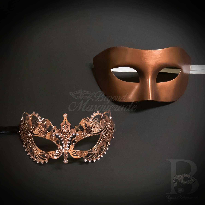 Couple Rose Gold Metal Filigree /& Carnival Masquerade Wedding Ball Prom Mask