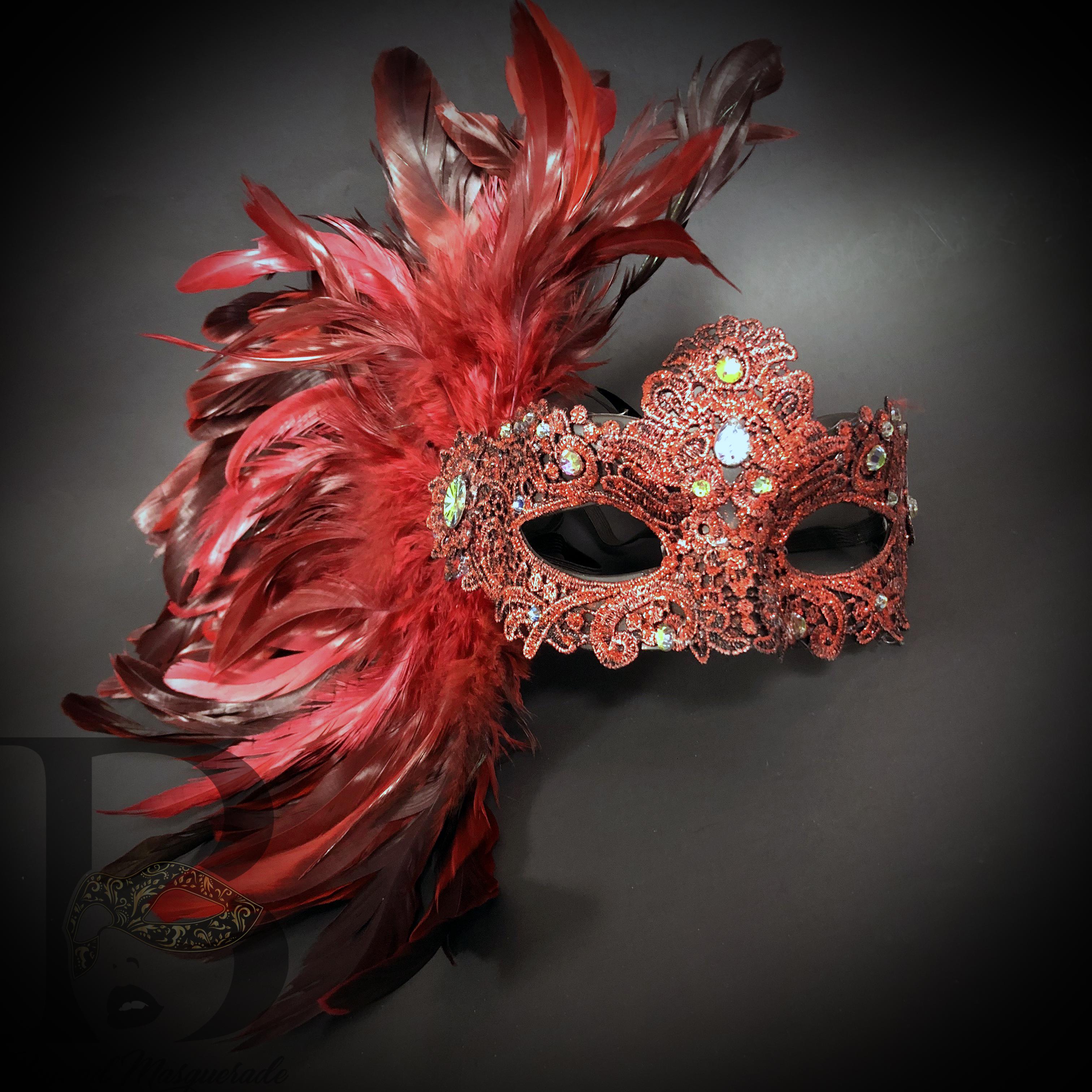 Brand New Mardi Gras Masquerade Male Pirate Mask Red