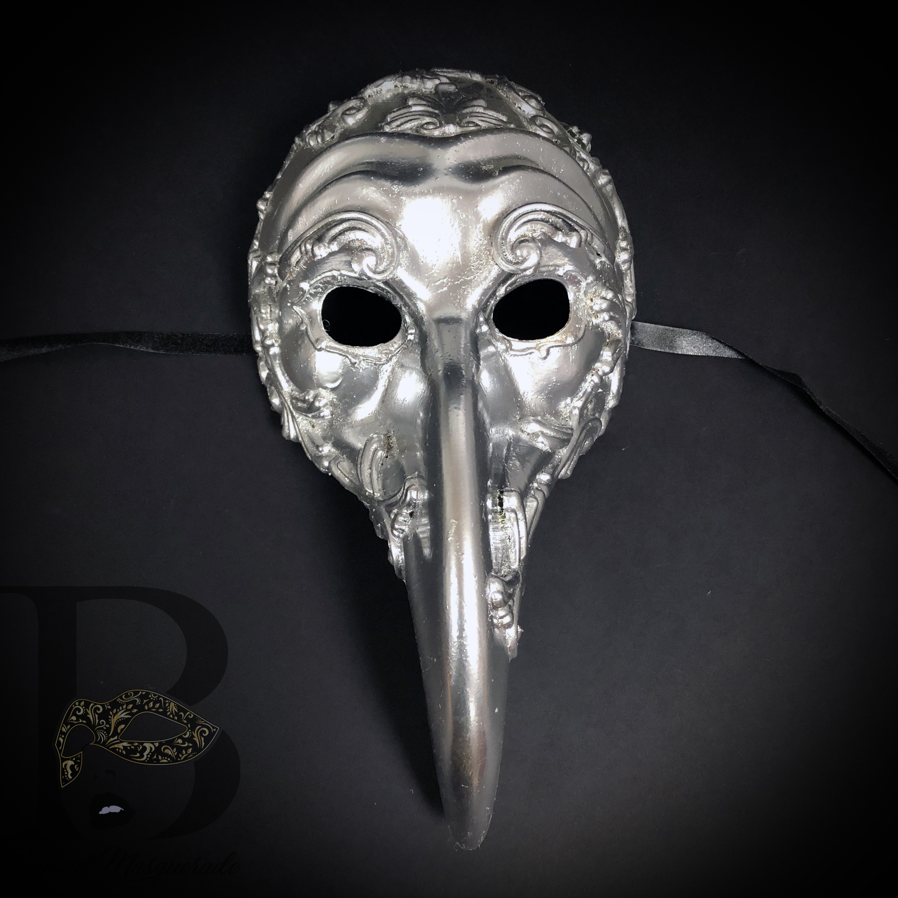 Halloween Steampunk Costume Masquerade Venetian Zanni Long Nose Mask Men GOLD