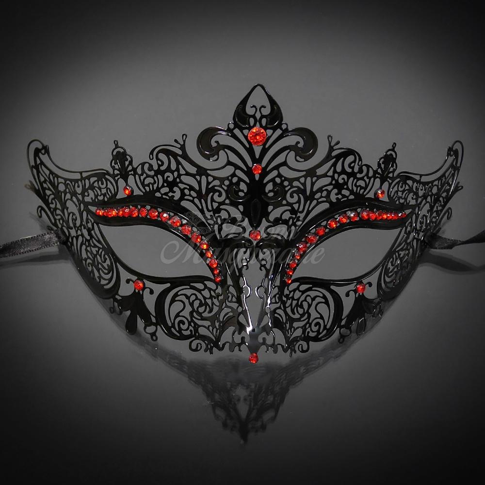 Luxurious Masquerade Mask Black M7110 (red gems)