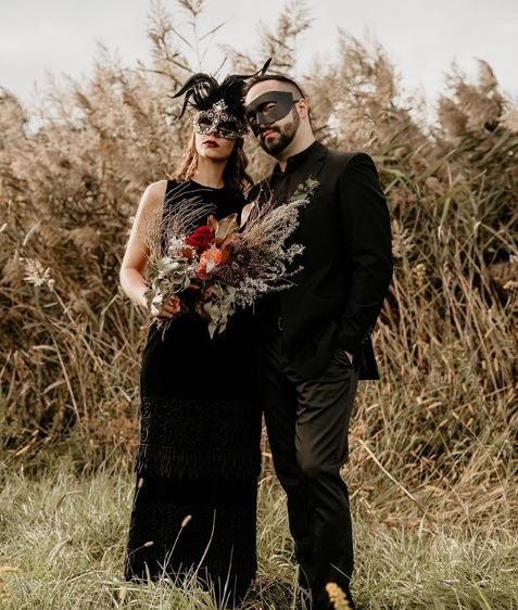 Couple's Masquerade Mask with Feathers and Phantom Party Mask.