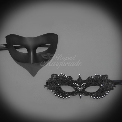 Couples Black Minimalist and Black Extravagant Costume Party Masquerade Mask Set