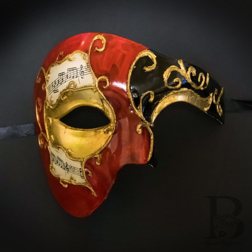 MASQUERADE HALLOWEEN UNISEX  BLACK GOLD /& RED ANTIQUED MUSIC PARTY HALF MASK