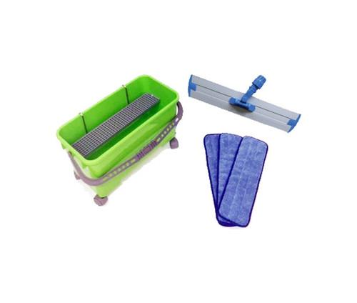 Flat mop waxing kit with bucket.