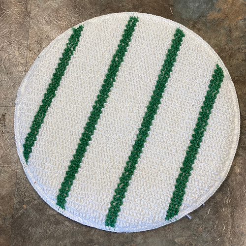 Rubbermaid Commercial Low-Profile Carpet Bonnet with Green Scrubber for carpet cleaning.