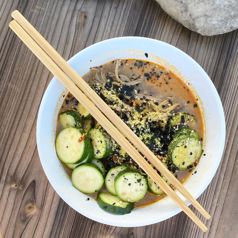 Add to broths and sauces. Pictured is a ramen noodle broth with Raw Organic Walnut Meal