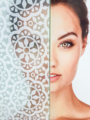 White Pattern Etched Privacy Film - Static Cling