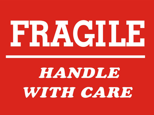 """4 x 6"""" Shipping Labels - """"Fragile-Handle With Care"""""""