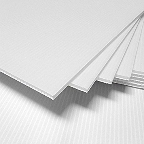 4mm Corrugated plastic sheets: 14 x 22 :100% Virgin White Pad  :  Single pc