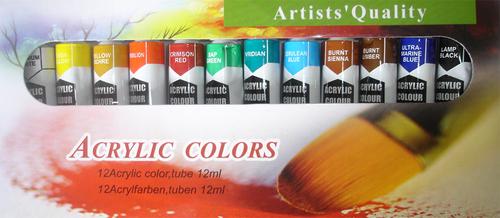 Artist Paints -  Acrylic Colors : Set of 12  X  0.4 OZ  \ 12 ML