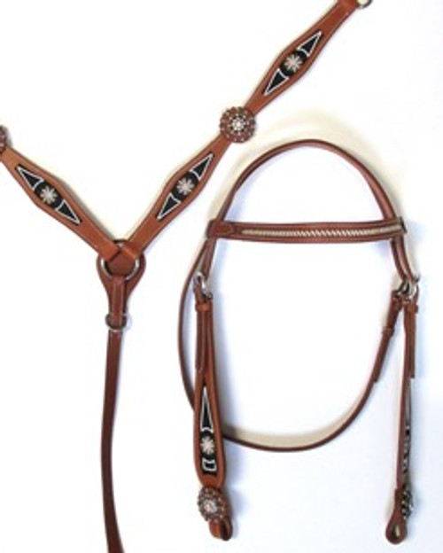 Gold & White Beaded Headstall and Breast collar Set