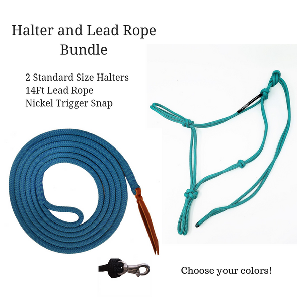 2 Halter and Lead Rope Bundle