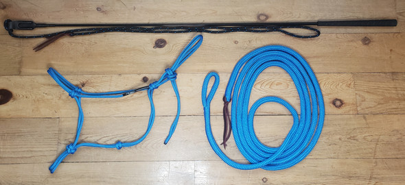 Complete starter kit includes a Halter, Lead Rope and Training Stick with String