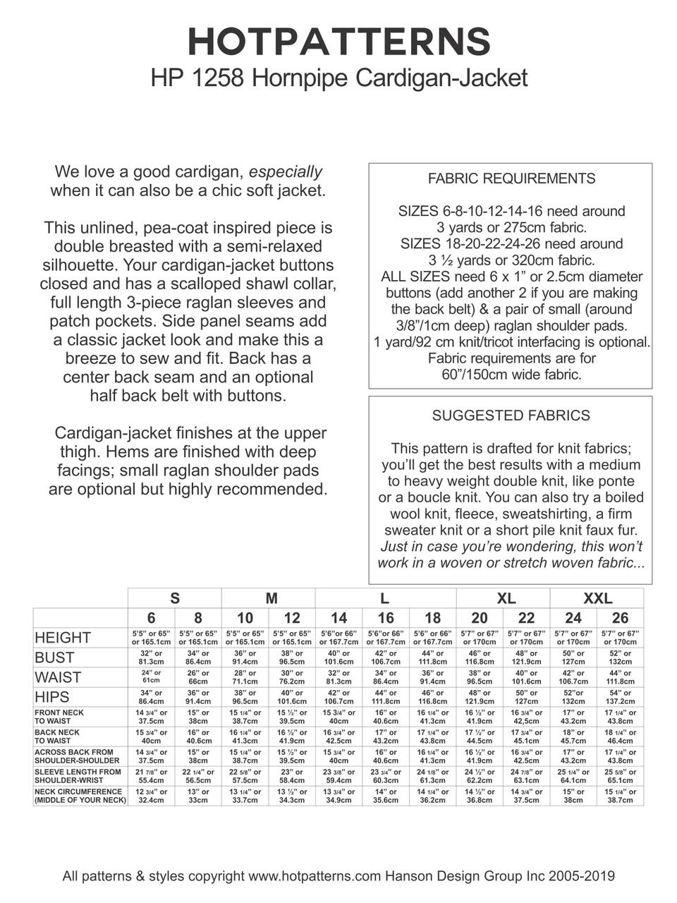 HP 1258 Hornpipe Cardigan-Jacket