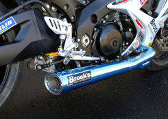 "Buy TiWinder Blue Full System w/ 18"" Muffler Race Baffle GSX-R1000 (07-08) 390222 at the best price of US$ 2199 