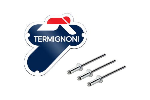 Termignoni Aluminum Logo Plate 100mm x 100mm (Includes Rivets)