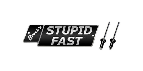 STUPID FAST Logo Plate 4in Black w/ Silver Letters (Includes Rivets)
