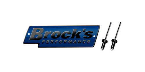 Brock's Performance Logo Plate 4in Blue w/ Black Letters (Includes Rivets)