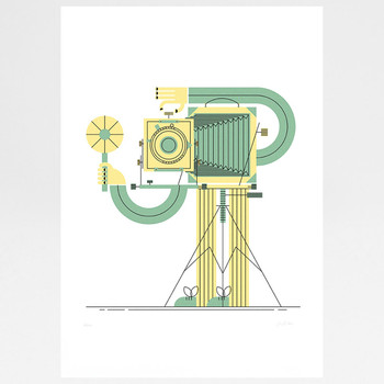 Camera Man screen print by John Devolle at Of Cabbages and Kings