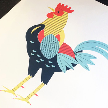 Moody Rooster screen print detail by John Devolle at Of Cabbages and Kings