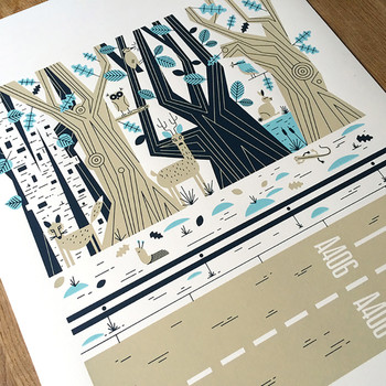 Epping Forest screen print detail by John Devolle at Of Cabbages and Kings