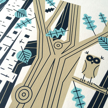 Epping Forest screen print owl detail by John Devolle at Of Cabbages and Kings