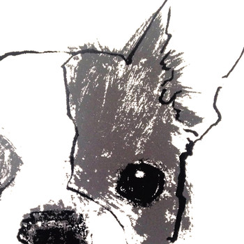 French Bulldog screen print detail by Tiff Howick at Of Cabbages and Kings.