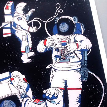 Astronauts screen print detail 01 by Claudia Borfiga at Of Cabbages and Kings