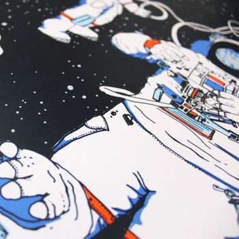 Astronauts screen print detail 02 by Claudia Borfiga at Of Cabbages and Kings