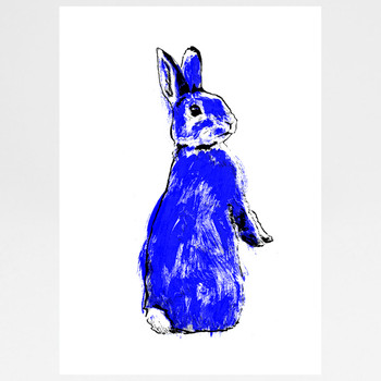 Blue Rabbit screen print by Tiff Howick at Of Cabbages and Kings.
