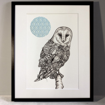 The Owl And The Butterfly art print framed by Lauren Mortimer at Of Cabbages and Kings.