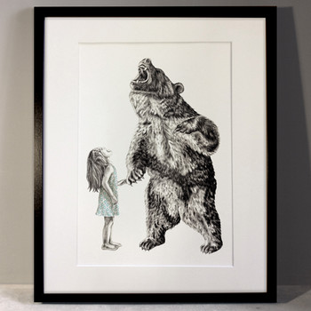 Bear With Me (Special Edition) art print framed by Lauren Mortimer at Of Cabbages and Kings