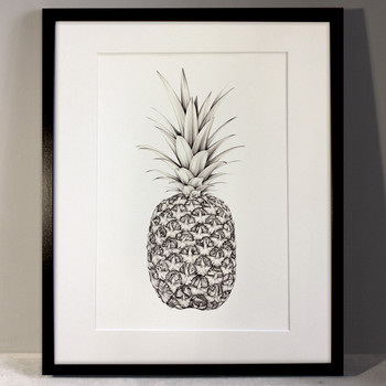 Papillion Pineapple art print framed by Lauren Mortimer at Of Cabbages and Kings
