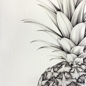 Papillion Pineapple art print detail 01 by Lauren Mortimer at Of Cabbages and Kings