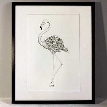 Flora Flamingo art print framed by Lauren Mortimer at Of Cabbages and Kings