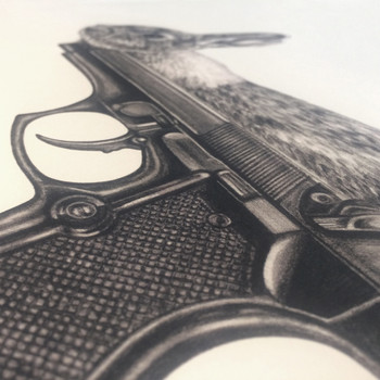Gun Bunny art print detail 01 by Lauren Mortimer at Of Cabbages and Kings.