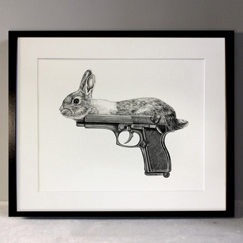 Gun Bunny art print framed by Lauren Mortimer at Of Cabbages and Kings.