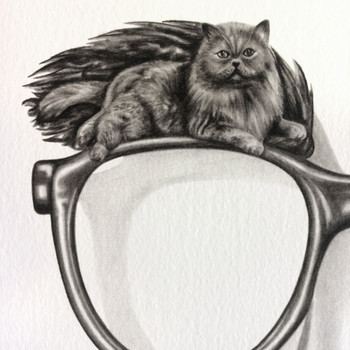 Cats in Disguise art print eyebrow detail by Lauren Mortimer at Of Cabbages and Kings.