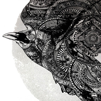 Crow of Winter: White screen print detail by Fiftyseven Design at Of Cabbages and Kings.