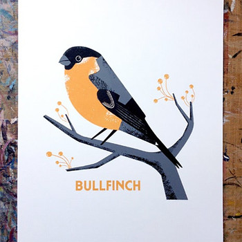 Bullfinch screen print lifestyle detail by Chris Andrews at Of Cabbages and Kings