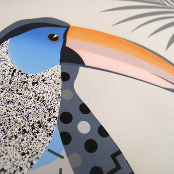 A Toucan Sitting on a Branch Contemplating Life art print detail 02 by Adam Bartlett available at Of Cabbages and Kings.