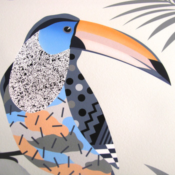 A Toucan Sitting on a Branch Contemplating Life art print detail 03 by Adam Bartlett available at Of Cabbages and Kings.