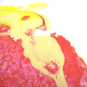 Strawberry Split screen print dribble detail by Gavin Dobson at Of Cabbages and Kings