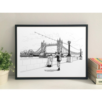 Tower Bridge art print framed by Mike Hall at Of Cabbages and Kings.
