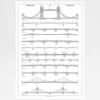 Bridges of London illustrated art print by Mike Hall available at Of Cabbages and Kings.