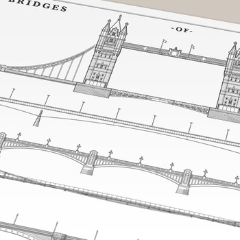 Bridges of London illustrated art print detail by Mike Hall available at Of Cabbages and Kings.