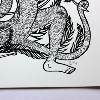 Don't Sell The Sun To Buy A Candle screen print monkey leg by Tom Berry at Of Cabbages and Kings