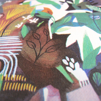 Ponds and Plants screen print detail 02 by Ashley Amery at Of Cabbages and Kings