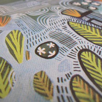 Ponds and Plants screen print detail 01 by Ashley Amery at Of Cabbages and Kings